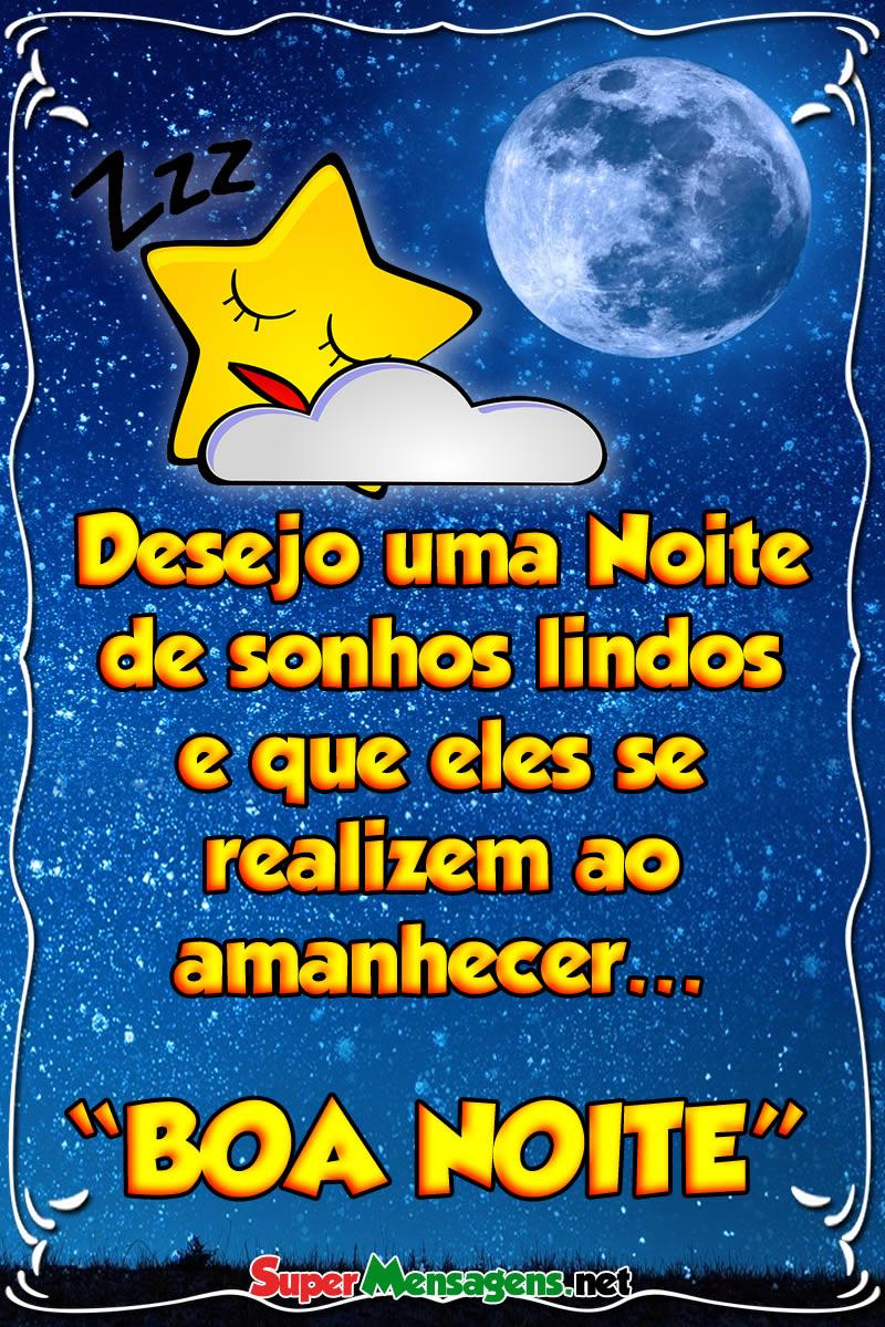 Mensagem de Boa noite desejando bons sonhos com estrelinha