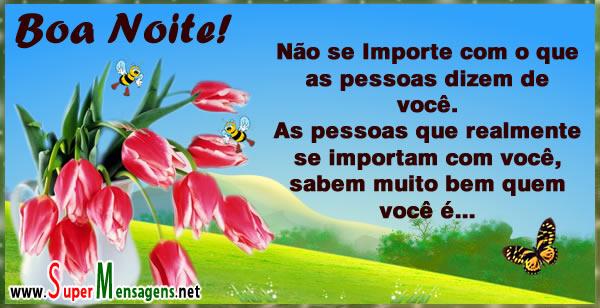 Mensagem de Boa noite com flores e frase!