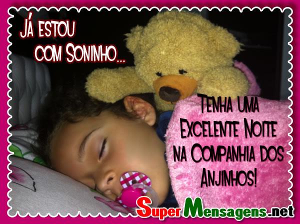 Mensagem de boa noite com criança dormindo, e ursinho de pelúcia